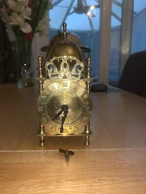 Smiths Quality Mechanical Brass Lantern Style Mantel Clock With Key - British Ma