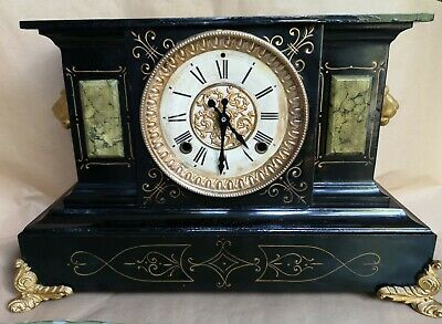 Antique Ansonia mantle clock, late 19tb C. Working order  - slate and metal.