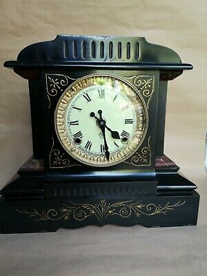 Antique Ansonia mantle clock, late 19th C. Working order  - slate and metal.