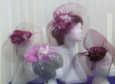 4 Assorted Fascinators - Maroon, Magenta, Cerise, Fuchsia, White, Clearance