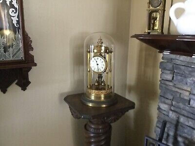 "Antique German Bandstand Torsion Anniversary 400 Day Clock & Dome 16 1/2"" Tall"