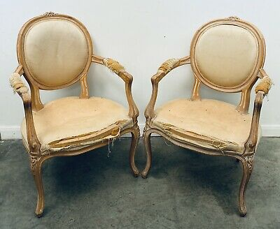 LOVELY PAIR OF FRENCH ANTIQUE 20th CENTURY WHITE WASHED PINE ARM CHAIRS, C1920