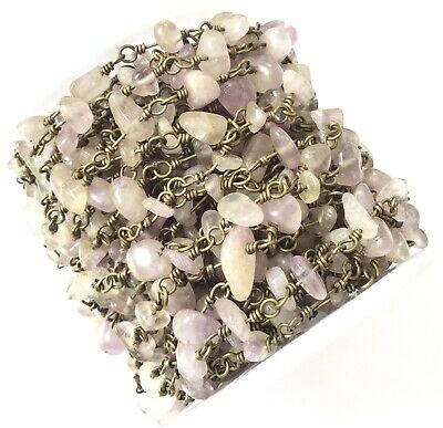 3Ft Gemstone Quartz Chips Beads Antique Brass Rosary Chain Rosary Finding