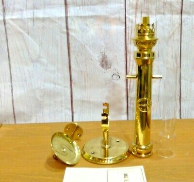 """Brass Oil Paraffin Captains Wall Gamble Lamp 16"""" Tall Vale Wales UK Cymru Rustic"""