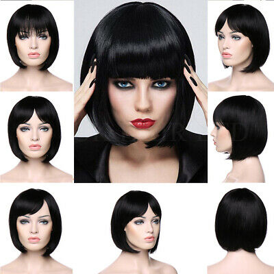 UK Hot Sale 100 Real Human Hair Wigs Short Bob Straight With Fringe Full Wig Zwr