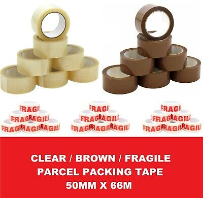 Long Length Parcel Packing Strong Tape Brown / Clear / Fragile 50Mm X 66M