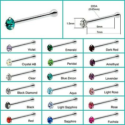 1.5mm Red Crystal Sterling Silver Nose Stud short ball end Pin Bone Siam UK