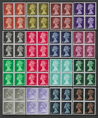 SG723-744 Set of 16 UNMOUNTED MINT QEII Machin stamps blocks of 4.