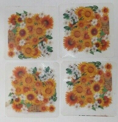 Vintage 4 COASTERS Small table drinks mats Yellow floral -  Retro style