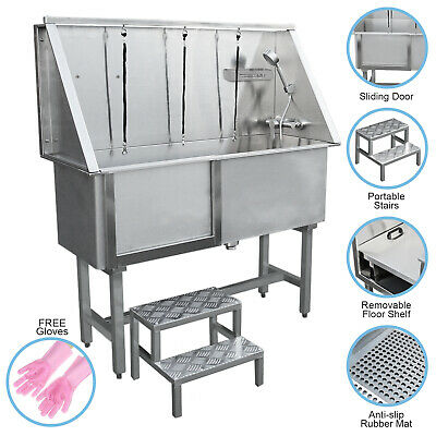 Dog Grooming Bath Stainless Steel Pet Wash Station Commercial Shower Tub 400mm