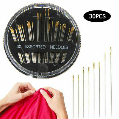 30x Assorted Hand Sewing Needles Pins Gold Eye Home DIY Accessories Disc Mounted