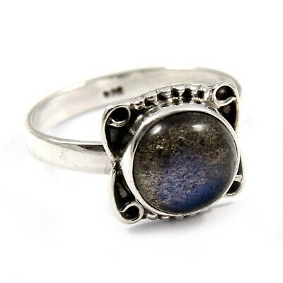 Rotatable Labradorite Gemstone Solid 925 Silver Jewelry Ring for Women Size 6