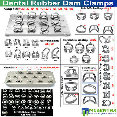 Endodontic Sets Of Rubber Dam Ivory Wingless Brinker Clamps with Holding Tray CE