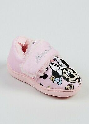 GIRLS DISNEY MINNIE MOUSE PINK SLIP ON INDOOR HOUSE MULE SLIPPERS SHOES WD8147