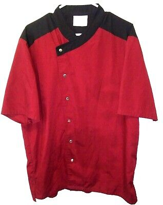 Happy Chef Cook Top Large Burgundy Vented Restaurant Uniform Snap Front