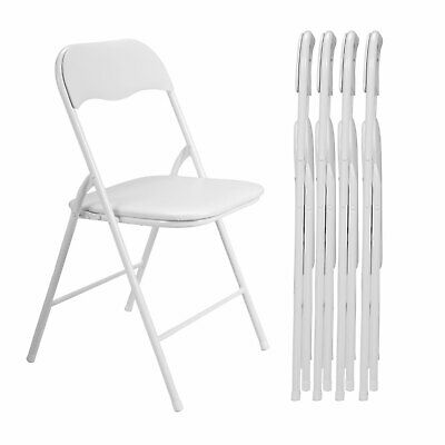 (5 Pack) Folding Plastic Chairs w/ Soft Padded Seats for Wedding Event BBQ Party