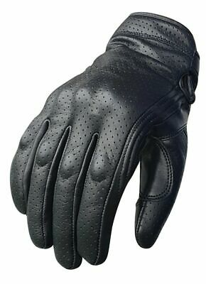 WFX Goat Vented Leather Mens Motorcycle Gloves Perforated Cruiser Protection Small