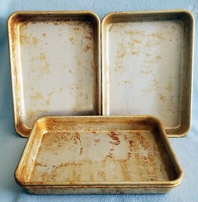 4 PIZZA HUT BREAD STICK or BAKING PANS  9 x 13 SEASONED GENTLY USED