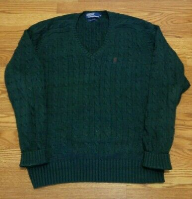 ralph lauren polo mens sweater pullover v neck cable knit xl extra large