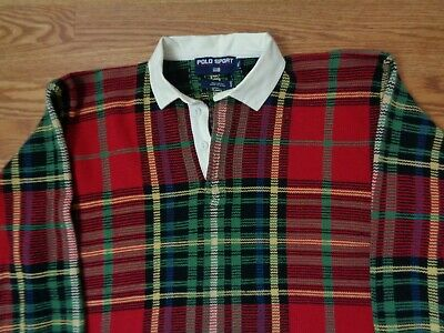 ralph lauren polo sport sweater plaid long sleeve red extra large xl
