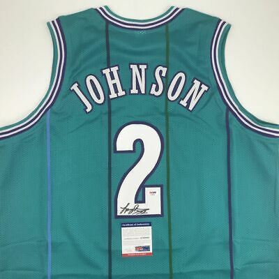 Autographed//Signed Larry Johnson New York Blue Basketball Jersey PSA//DNA COA