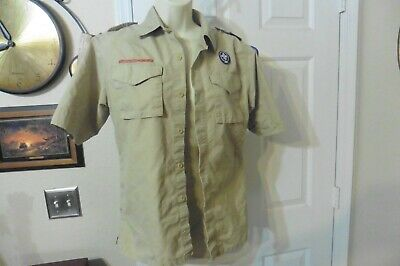 Boy Scout Uniform Shirt / Patches Youth Large Polyester Cotton