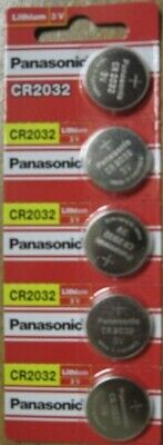 Pack of 5 Fresh Panasonic CR2032 3V Coin Lithium Batteries DATED 2029