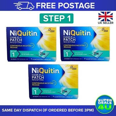 21 NiQuitin Clear 24 hour Patches. Available in Step 1,2 & 3