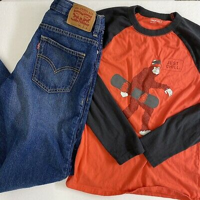 Boys Size 12 Back To School Outfit Lot Bundle Levi Jeans & Gap T-Shirt Tee