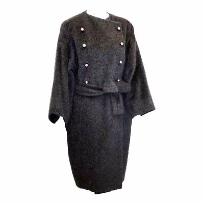 PATRICK KELLY 1980s Charcoal Wool and Mohair Ladies Coat