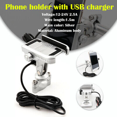 Aluminum Cell Phone Holder Mount USB Charger for Harley Sportster XL1200 883 XLH