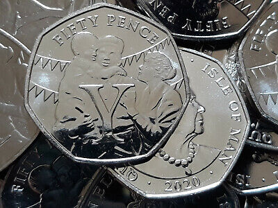 2020 VICTORY - Letter Y. Isle of Man IOM Manx 50p Fifty pence FROM A SEALED BAG