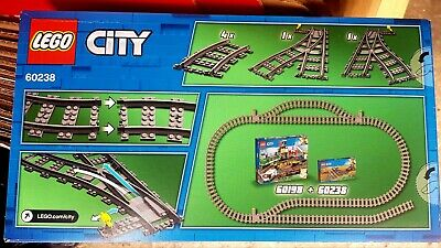 LEGO City Switch Train Tracks Curved Rail Segments Turnouts Left & Right