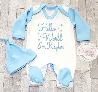 BLUE HELLO WORLD PERSONALISED SLEEPSUIT BOY Baby Gift Hospital outfit NEWBORN