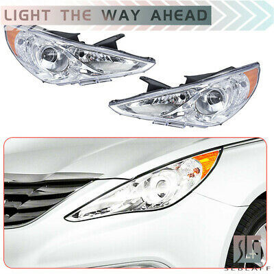 Pair Chrome Housing Amber Corner Projector Headlight Head Lamps For 11-14 Sonata