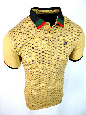 Mens Polo Shirt Niko Rust Plaid Engineered Print Italia Crest Slim Fit Stretch