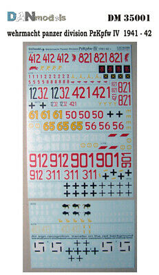 Danmodel DM35001 - Decal for Wehrmacht Panzer division markings, 1941-1942 Pz-IV