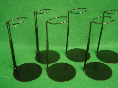 Doll Stands set of 6 Black Metal stands for 8 to 14 inch Dolls and Teddy Bears