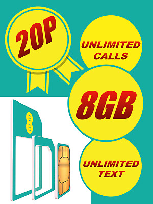 Ee T-Mobile Sim Card Micro Nano & Standard Pay As You Go 8 Gb Fits All Phones