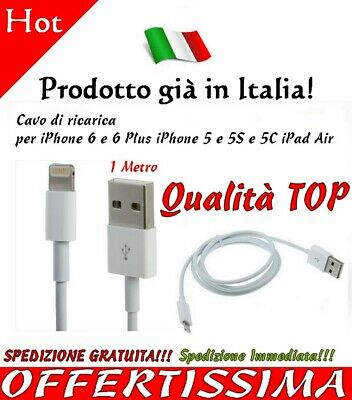 Cavo Dati Apple Usb Per iPhone 5 5s 6 plus iPad Air Cavetto ricarica 1 Metro