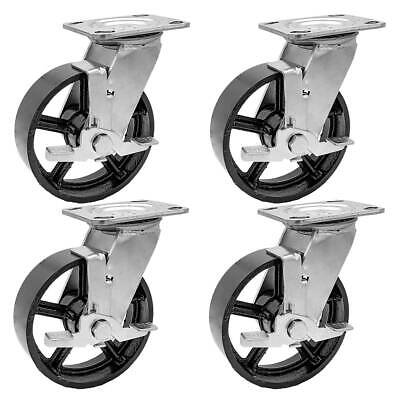 """4 Pack 8/"""" Vintage Caster Wheels Swivel Plate Grey Silver Iron Casters with Brake"""