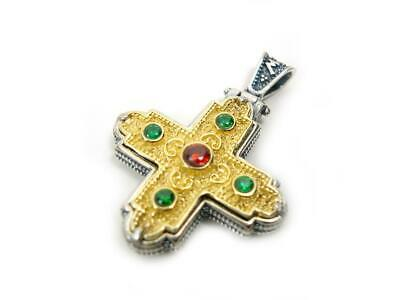 Sterling Silver 925 Byzantine Greek Orthodox Medieval Gold Plated Unisex Cross