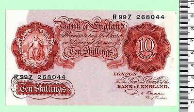 """1950 P. S. Beale Series """"A"""" Britannia Issue Red-Brown Mint Ten Shilling Note"""