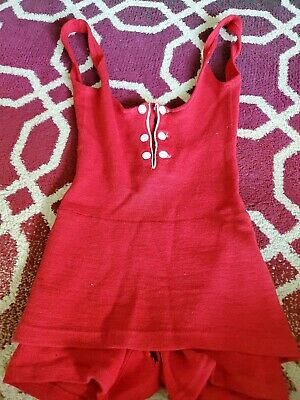 Vtg 1920s Mens Womens Red Wool Swimsuit. Medium. Has holes as shown in photo.