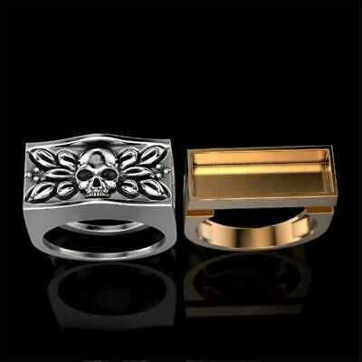 Details about  /Two Tone Secret Compartment Poison box Skull Silver Ring Biker hot Rider H2J5