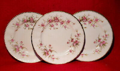 "Paragon *Victoriana Rose* 3 Bread & Butter Plates Lot 6 3/8"" England Gold Trim"