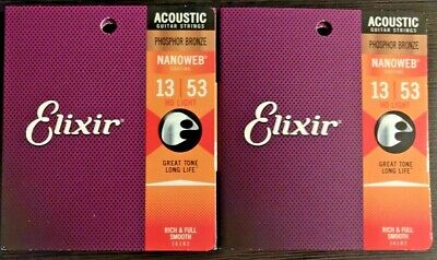 TWO SETS Elixir NanoWeb Phosphor Bronze Acoustic Guitar Strings 13-53 HDLT 16182