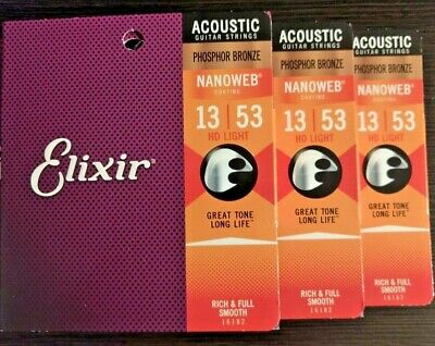 <THREE SETS> Elixir NanoWeb Coated Acoustic Guitar Strings 13-53 HD Light 16182
