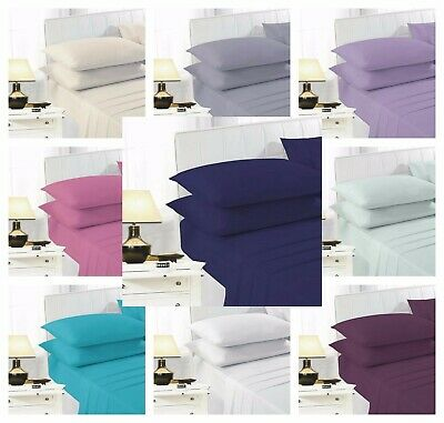 Percale Flat Sheet Fitted Bed Sheet Poly Cotton Single Double King Super King