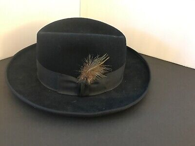Vintage Dobbs Fifth Avenue Size 6 7/8 Navy Blue M2203 Fleetwood Wool Fedora (NF)